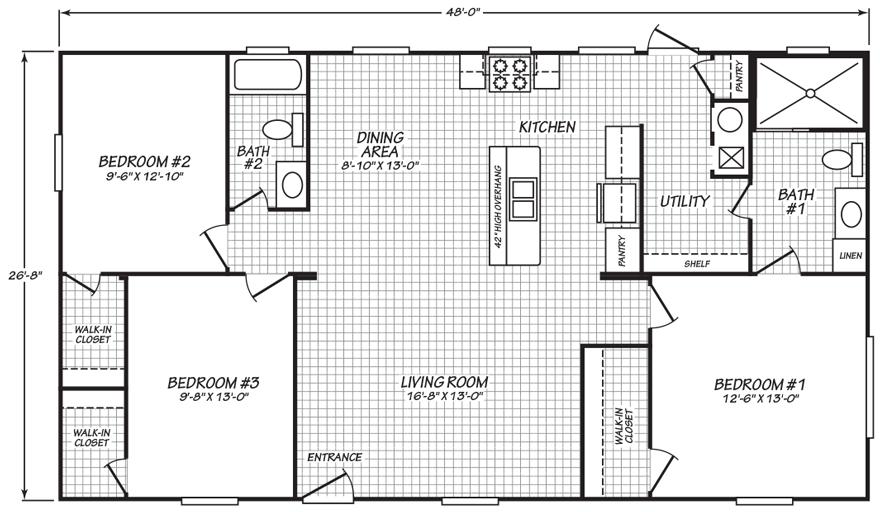Dresden 28 X 48 1250 Sqft Mobile Home Factory Expo Home Centers Home Center Master Bath Tile Mobile Home