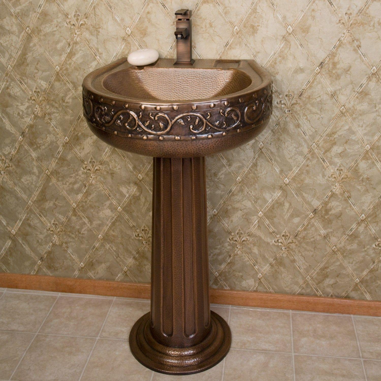 Vine Hammered Copper Pedestal Sink Pedestal Sink Pedestal Sink Bathroom Copper Sink Bathroom
