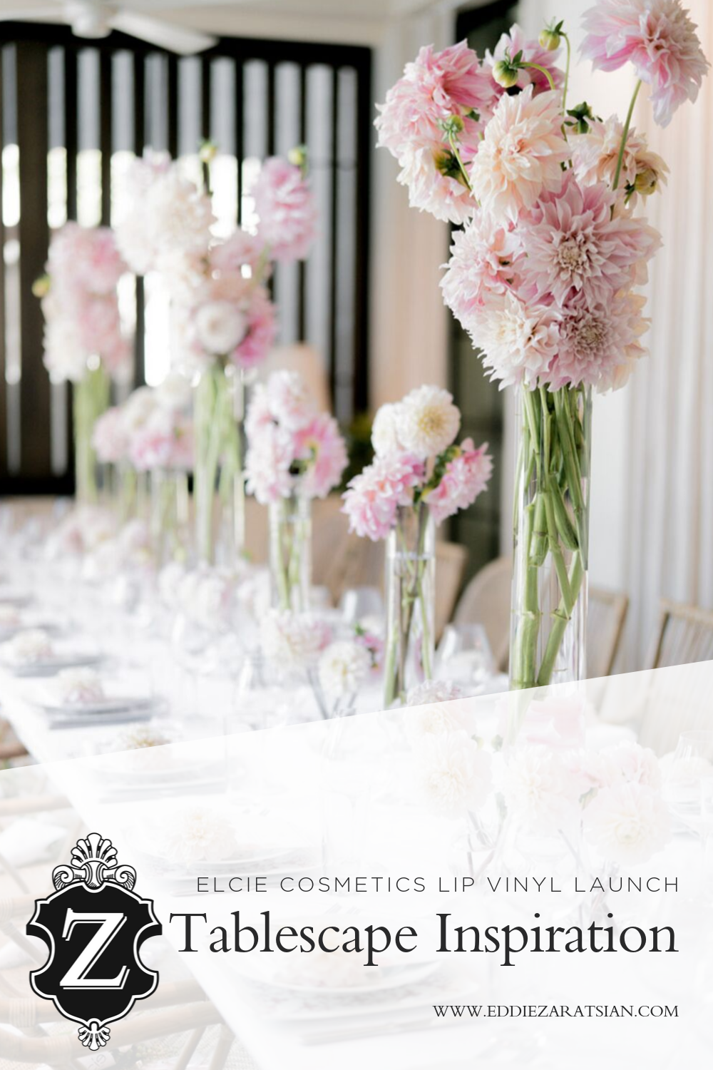 Elcie Cosmetics Lip Vinyl Launch Party Tablescape Inspiration - Lip Vinyl Launch Party. Lilit Caradanian, founder of Elcie Cosmetics, launched her amazing new line of Lip Vinyl earlier this month and called on Eddie Zaratsian to design her launch party. Inspired by the lip collection's soft pink color palette, Eddie created a delectable looking lunch event where he added delicate pink floral treatments to the yummy treats Ladybugs Catering and Events had laid out for the guests.