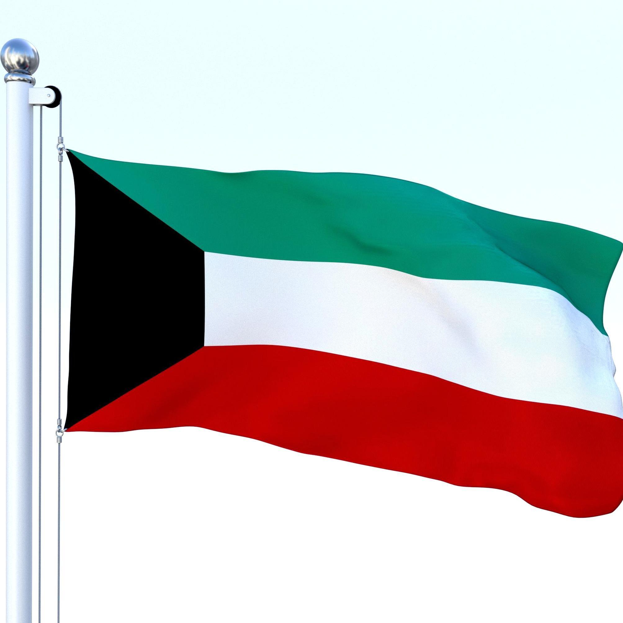Animated Kuwait Flag Animated Kuwait Flag In 2020 Kuwait Flag House 3d Model Flag