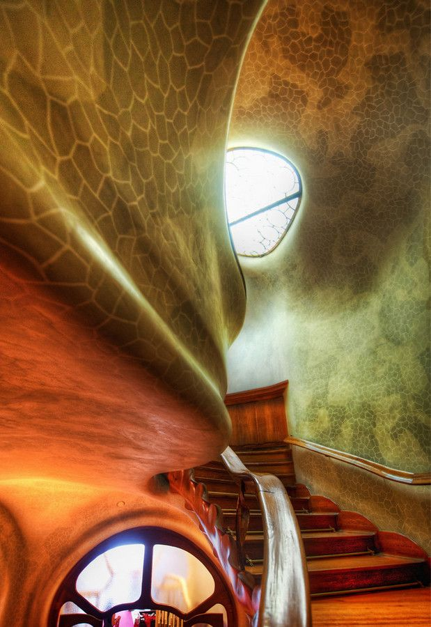 "This is one of the many beautiful staircases in the Casa Batlló, located in central Barcelona on Passeig de Gràcia. It's also called the ""House of Bones"", and it reminds me of the good old days playing Myst… - BARCELONA, SPAIN - photo from #treyratcliff Trey Ratcliff at http://www.StuckInCustoms.com"