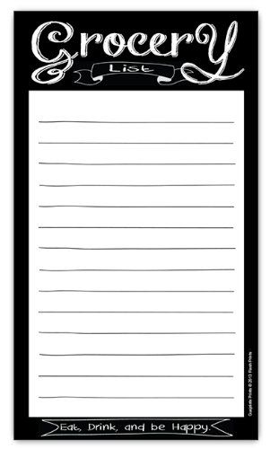 Chalkboard Style Magnetic Grocery List Notepad 425 - grocery list