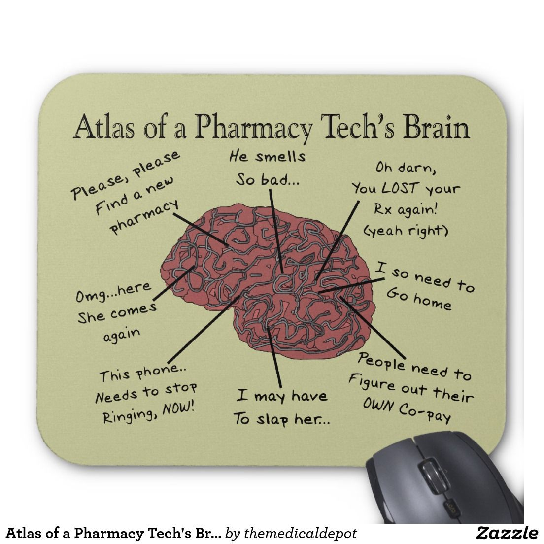 Atlas Of A Pharmacy Tech S Brain Mouse Pad Zazzle Com In 2021 Pharmacy Tech Pharmacy Fun Pharmacy Technician Humor