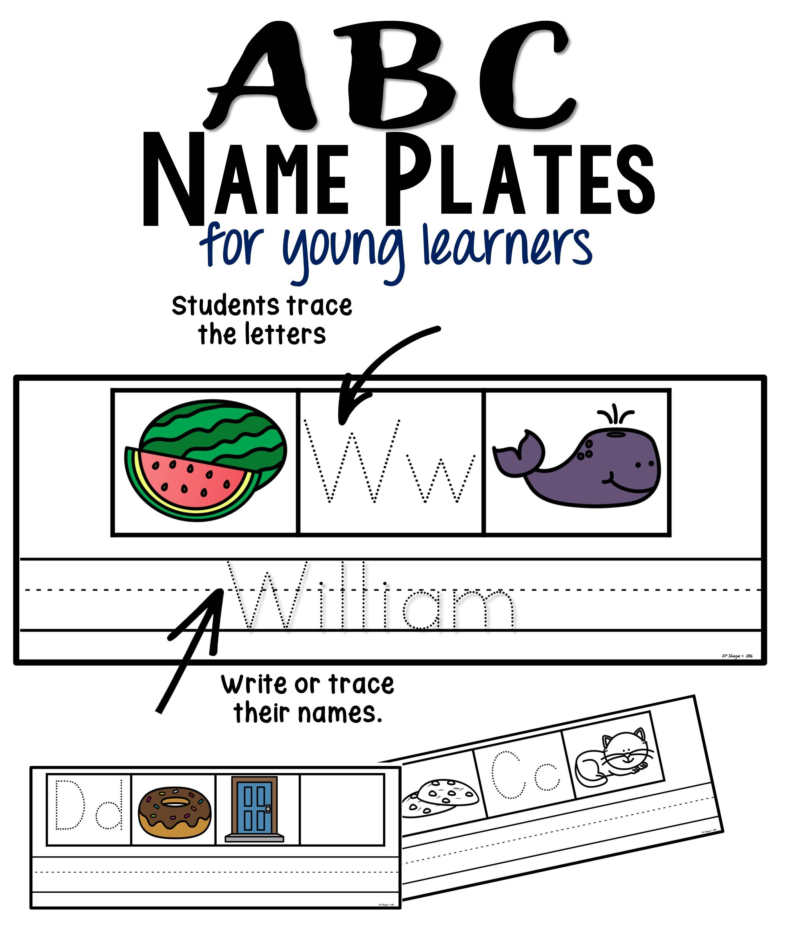 ABC Name Plates for Young Learners Name plate, Letter