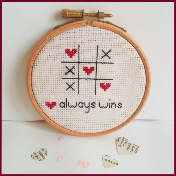 Love always wins Cross Stitch design: http://www.sundownstitcher.co.uk/product/love-always-wins-cross-stitch-embroidery-hoop #love #crossstitch #embroidery #xstitch #romantic #gift #homedecor #creative