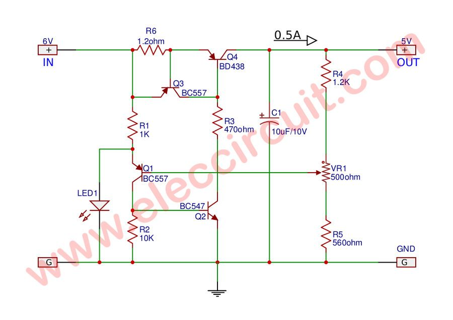 5v low dropout regulator circuit using transistor and led power