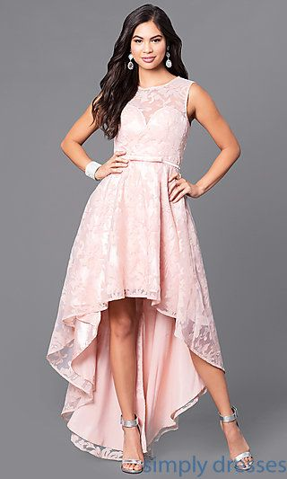6dd85d88006 Shop high-low party dresses at Simply Dresses. Sleeveless semi-formal lace  dresses with sweetheart linings and back keyholes for homecoming parties.