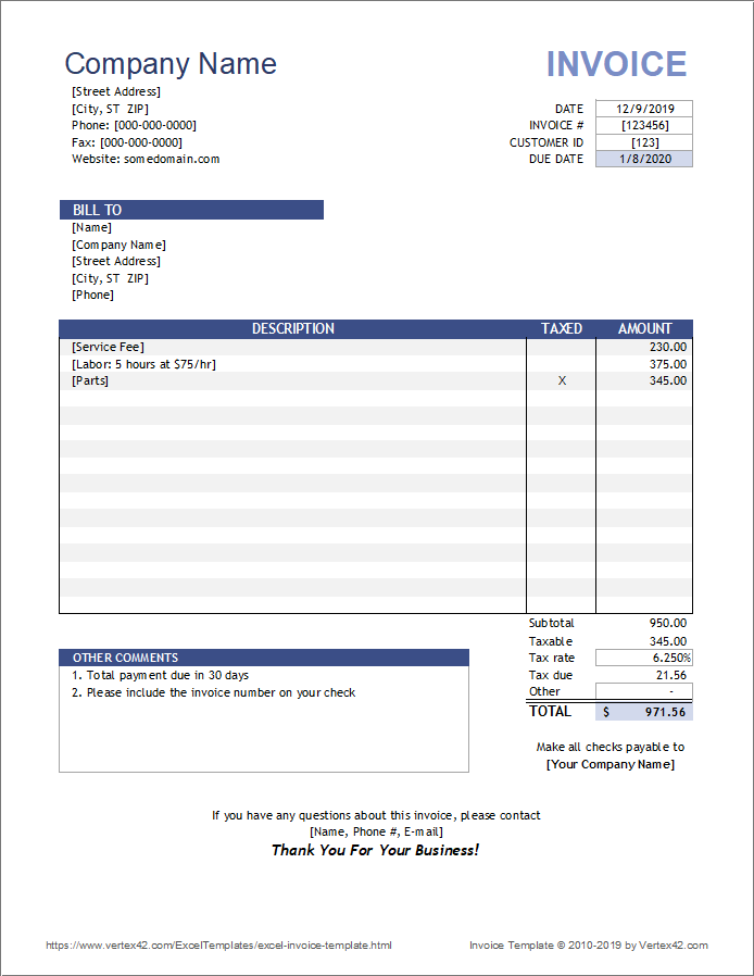 Excel Invoice Template Invoice Template Word Invoice Template Freelance Invoice Template