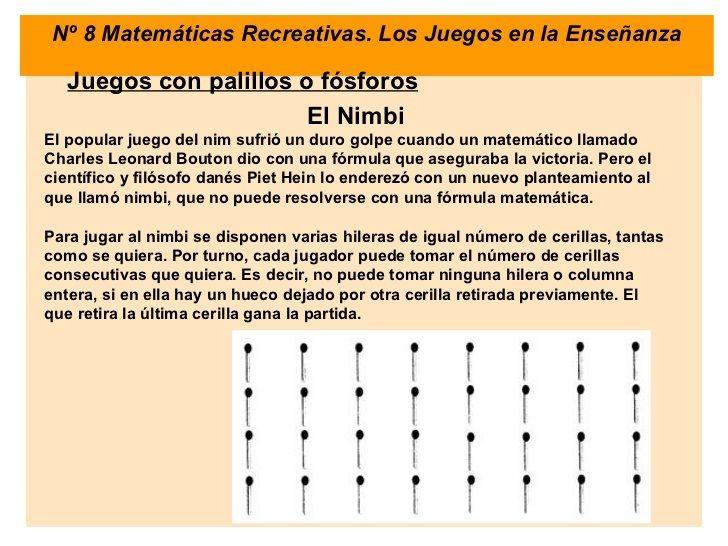 LABORATORIO DE MATEMÁTICA: Juegos con palitos de fósforos. http://laboratoriomatematica.blogspot.com/2012/11/juegos-con-palitos-de-fosforos.html