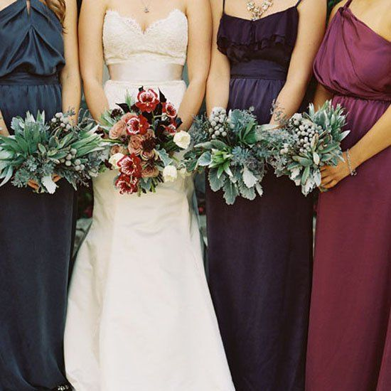 55a3532a6e6 Dress your bridesmaids in mixed berry and jewel tones for the perfect fall  wedding combination! (Credit  Jill Thomas)