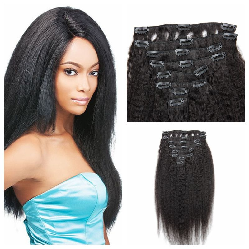 African american clip in human hair extensions malaysian kinky african american clip in human hair extensions malaysian kinky straight human hair clip in extensions 120g pmusecretfo Images