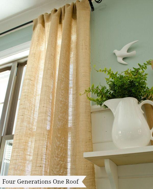 How to make curtains using burlap Hacer cortinas, Cortinas y Arpillera