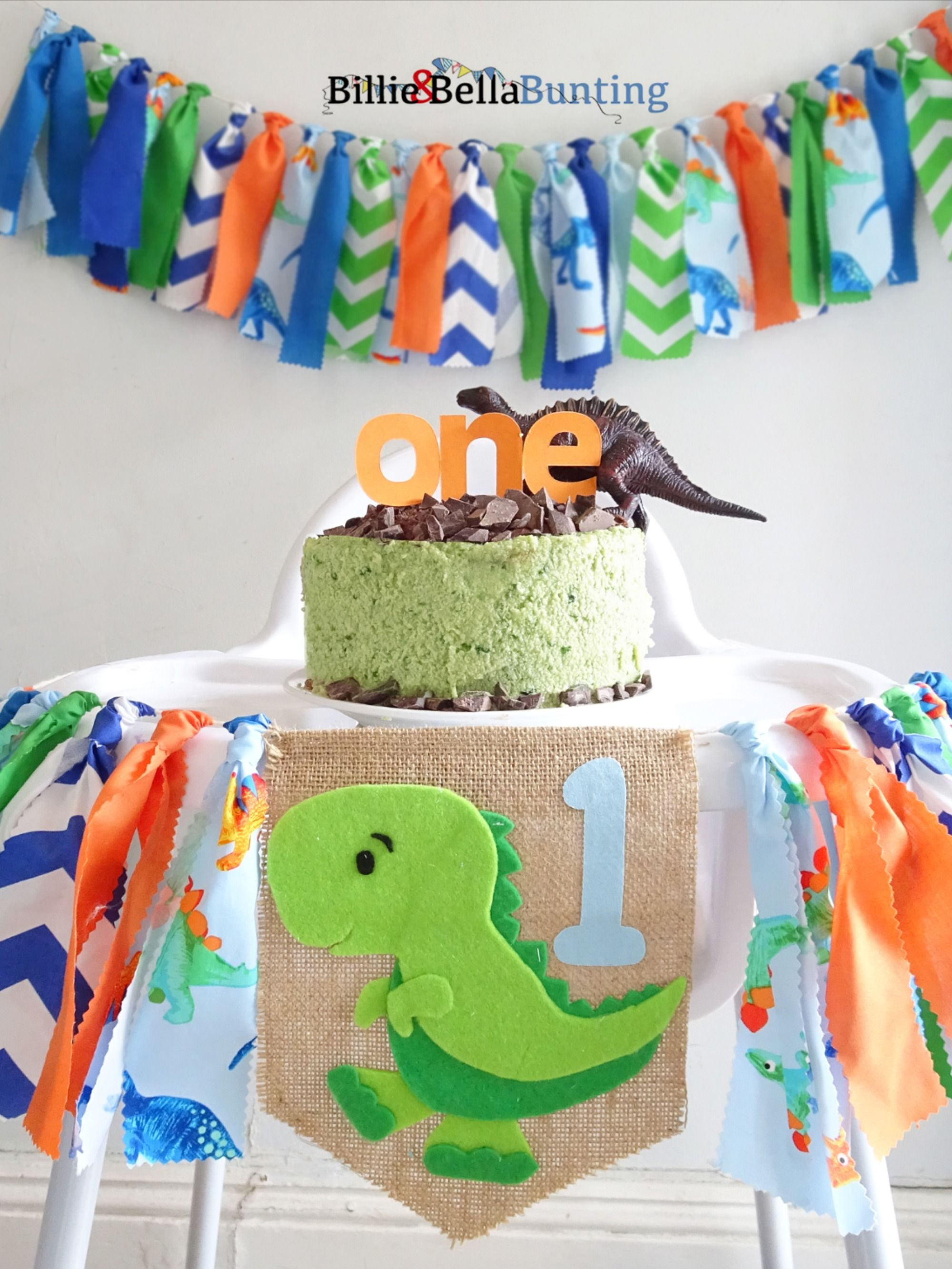 Dinosaur birthday, first birthday highchair banner, dino