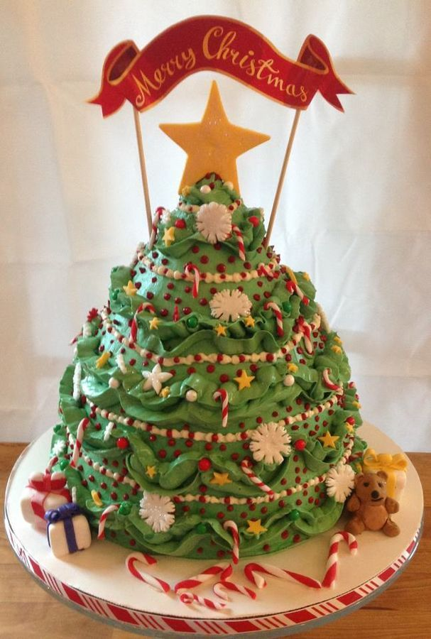 Buttercream With Fondant Ornaments Christmas Tree Cake Tree Cakes Christmas Cake