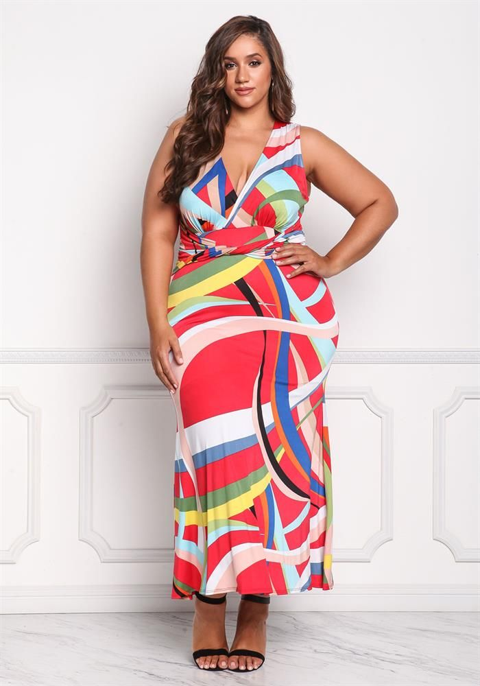 Plus Size Clothing Plus Size Multi Colored Maxi Dress Debshops