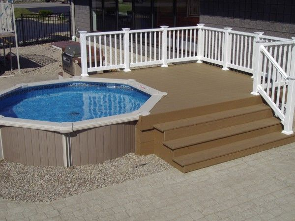 Superb Extraordinary Above Ground Composite Pool Decks With Brushed Stainless  Steel For Outdoor Grill Ideas Also Resin