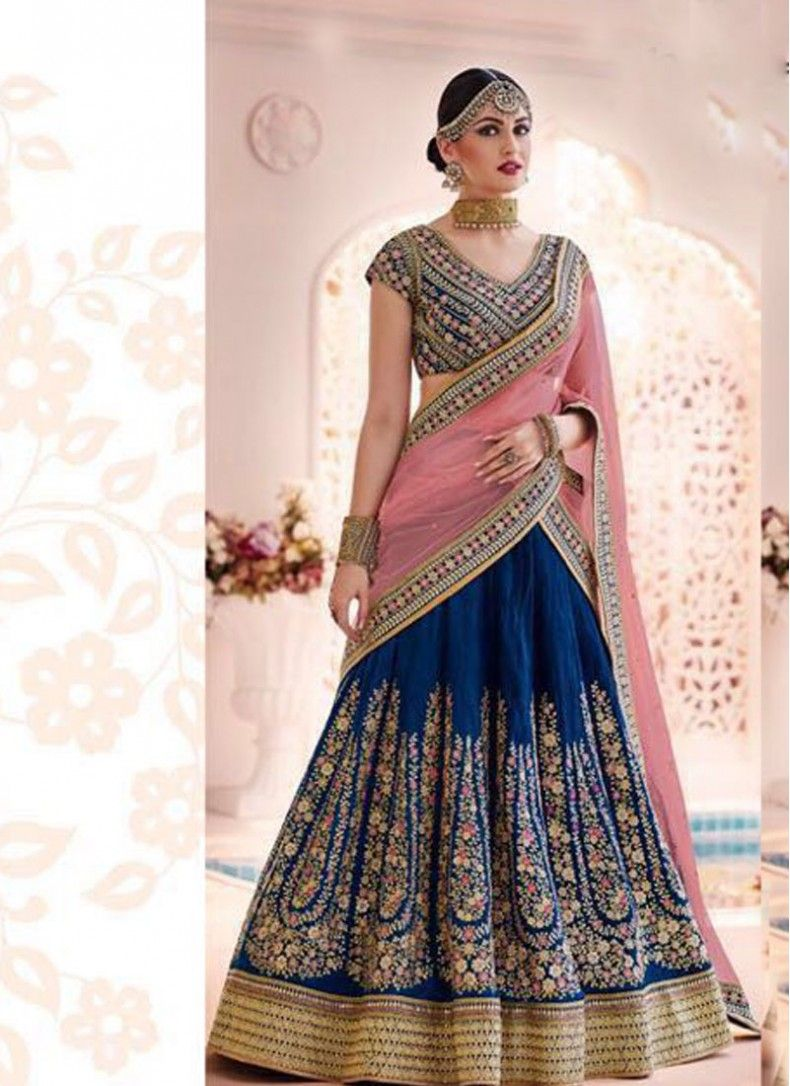 8f35dbb192 Lustrous Peach and Blue Net Stylish Wedding lehenga choli | Lehenga ...