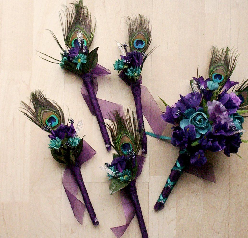 Purple Peacock Bridal Bouquets 10 Piece Package Silk Wedding Flowers Teal Feather Bokay Bridesmaids