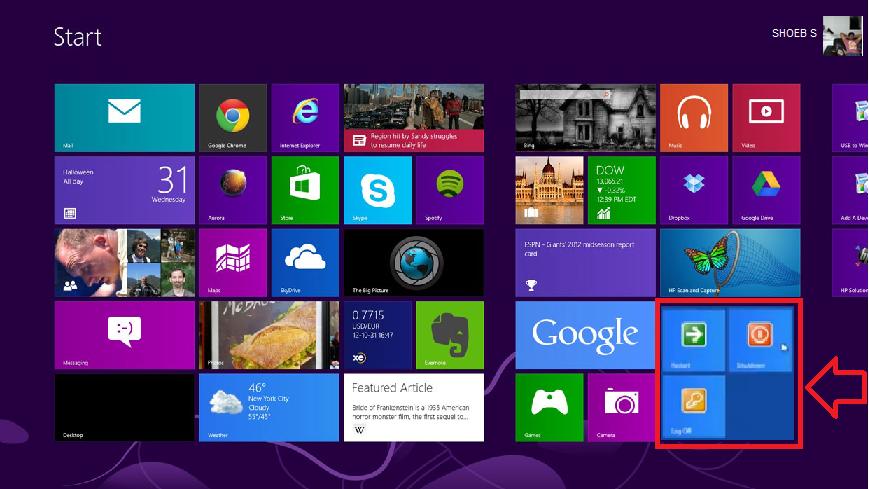 How To Add Shutdown And Restart Button to Windows 8 Start