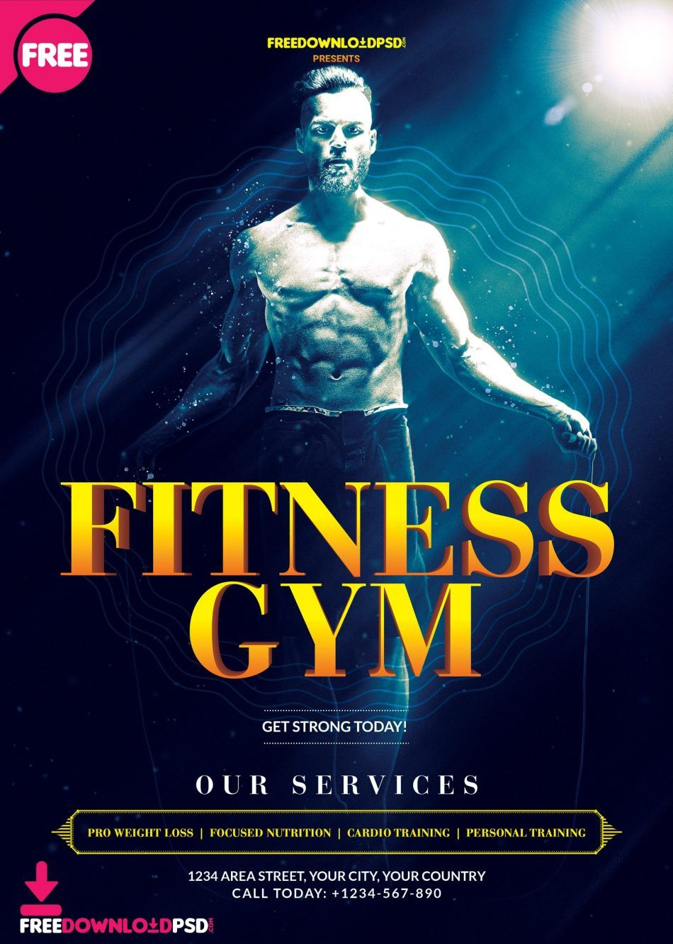 free fitness gym psd flyer template