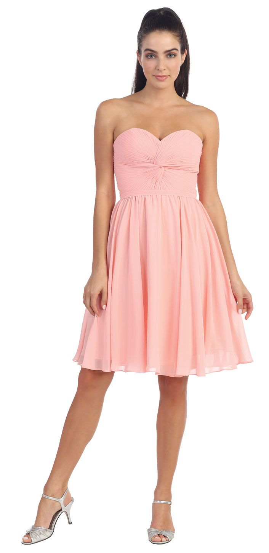 Secret Garden: WILLOW Blush Pink Knee Length Chiffon Strapless Bridesmaid