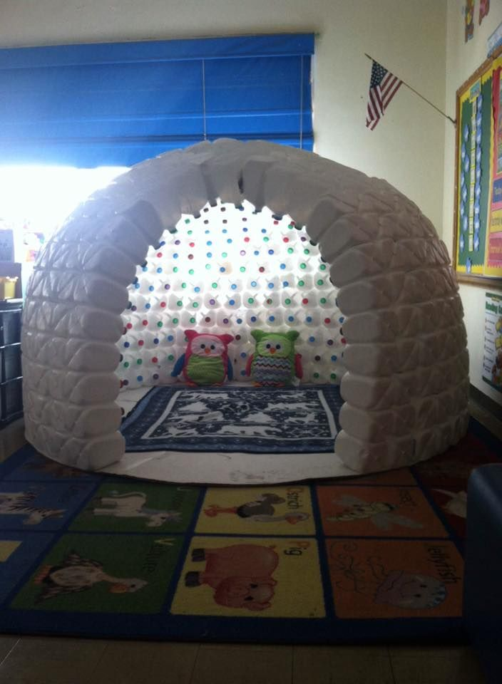 Milk jug igloo pinteres for How to build an igloo out of milk jugs