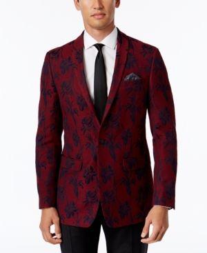 Tallia Men's Big & Tall Slim-Fit Red/Black Floral-Print Sport Coat  - Red 46L
