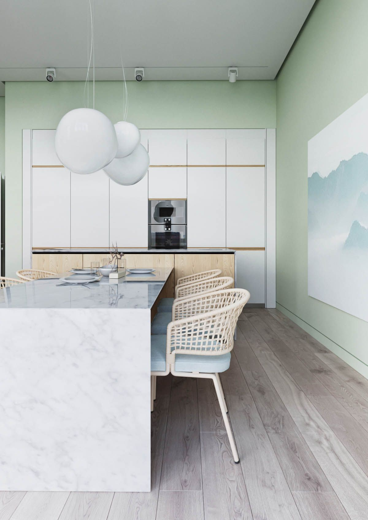 marble island, white kitchen and pale mint green