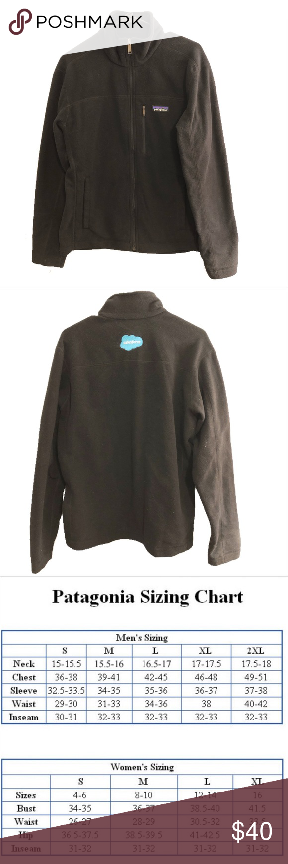 Black Patagonia Full Zip Fleece Jacket Euc Patagonia Perfect Condition Has A Salesforce Logo On Back Full Zip Pockets Clothes Design Fleece Jacket Fashion