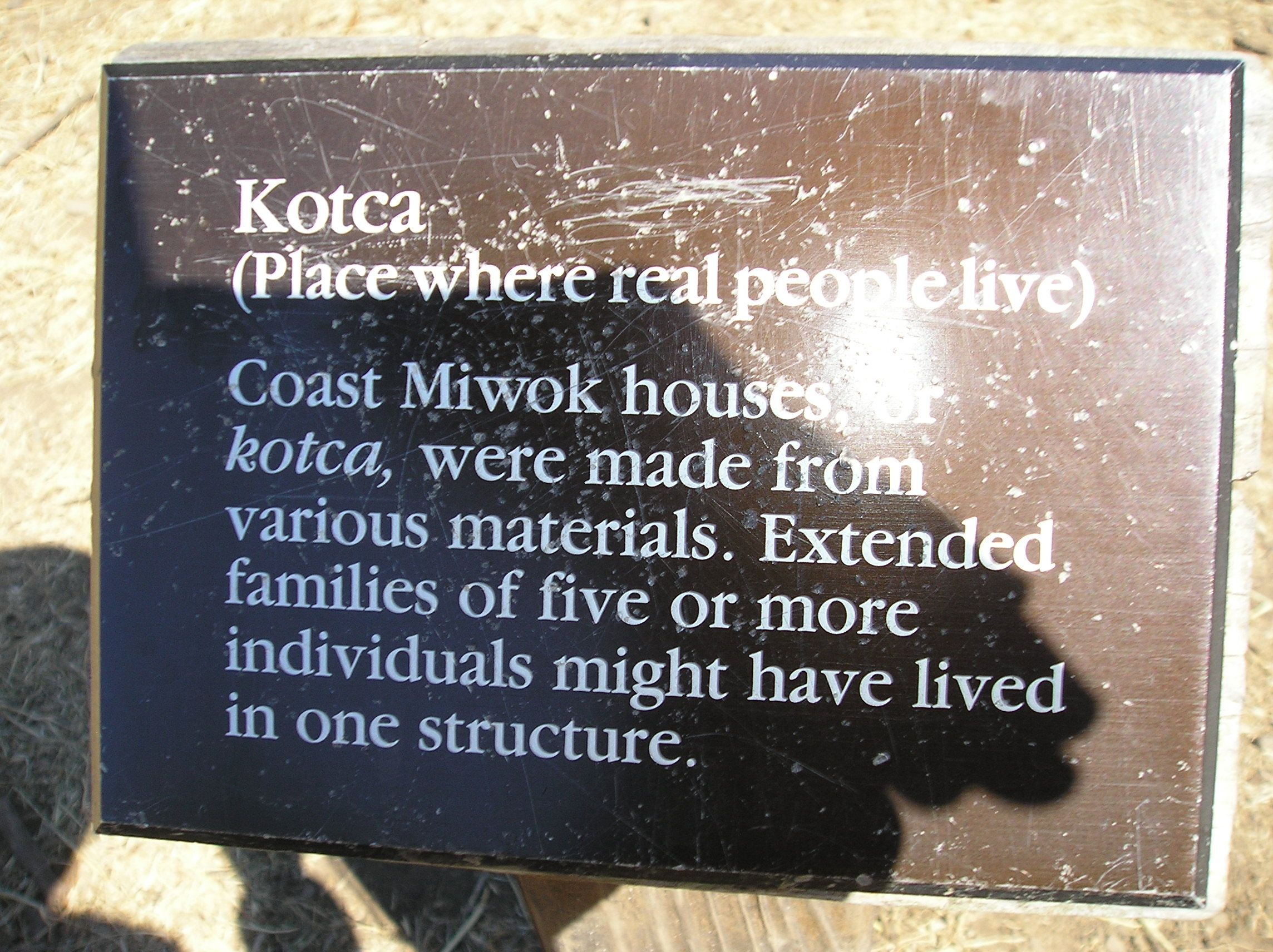 This sign describes more about the Miwok house.  Point Reyes, CA