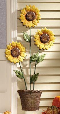 Harvest Sunflower Stalk Metal Wall Decor | Everything Sunflowers ...