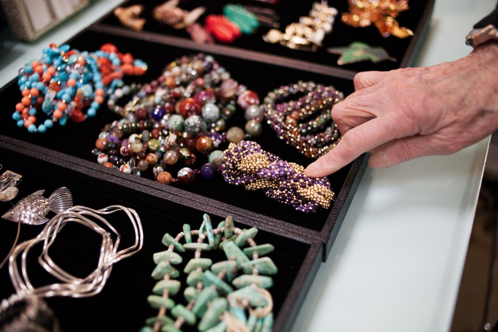 """85 & Awesome! Meet Bergdorf's Style Dynamo #refinery29  http://www.refinery29.com/betty-halbreich#slide-14  R29: Betty, can you talk about this amazing jewelry collection?BH: """"Some of it is gifts from my daughter, and I have some Ruser jewelry from California, too. This bracelet is by Meredith Frederick, who is a contemporary jeweler here. She's known for color, and I think this color is extraordinary. She really invented these roll-on bracelets, which have become s..."""