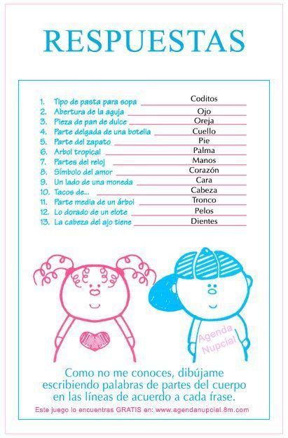 Juego Partes Del Cuerpo Del Bebe Baby Shower Nino Helen