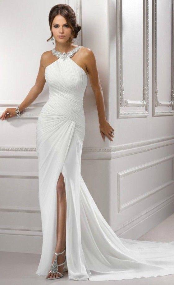 Simple elegant halter wedding dress for older brides over for Elegant wedding dresses for mature brides