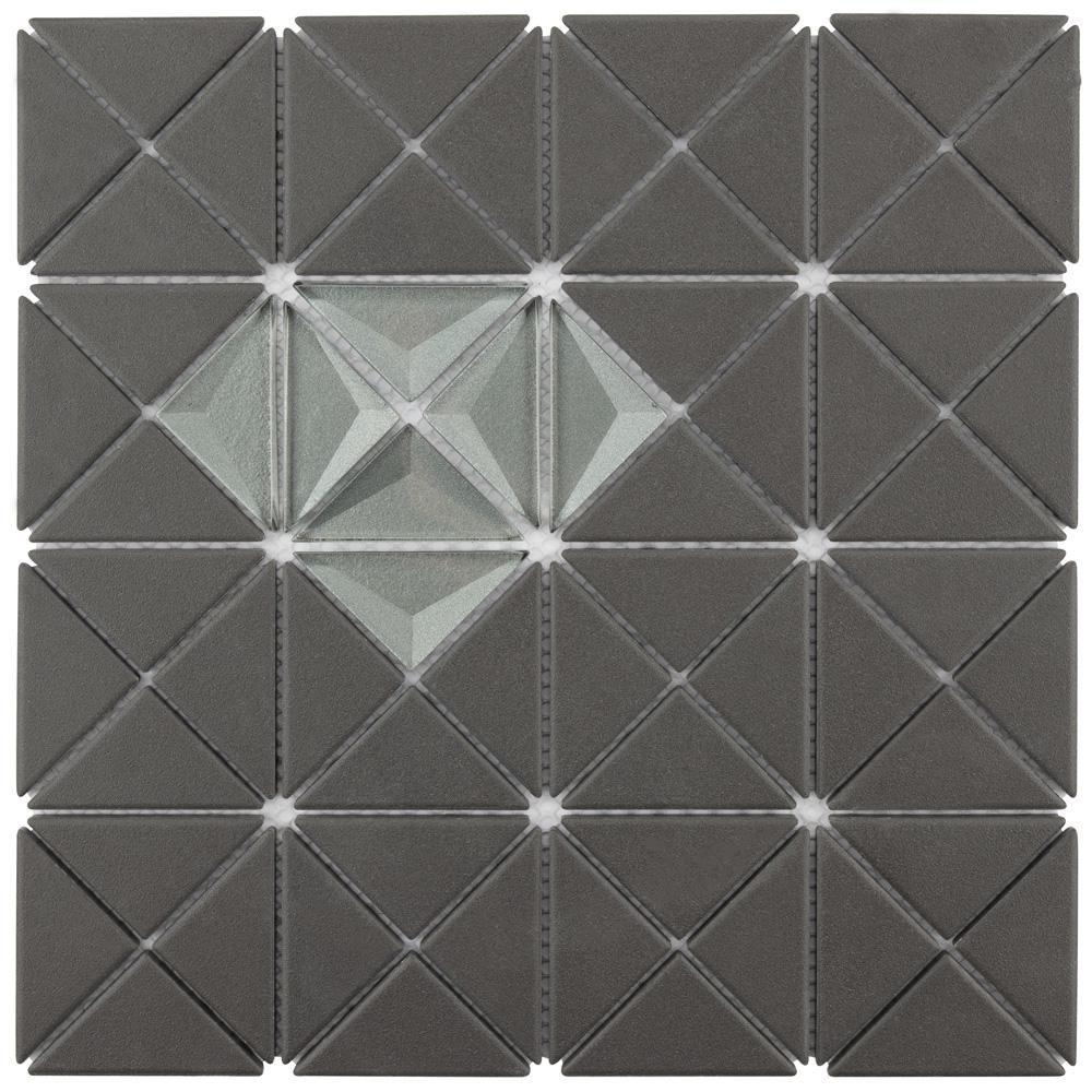 Merola Tile Trego Single Diamond Black W African Grey 10 1 8 In X 10 1 8 In X 6 Mm Unglazed Porcelain Glass Mosaic Tile 7 3sf Ca Black And Silver Mosaic Tiles Mosaic Glass Stone Mosaic Tile