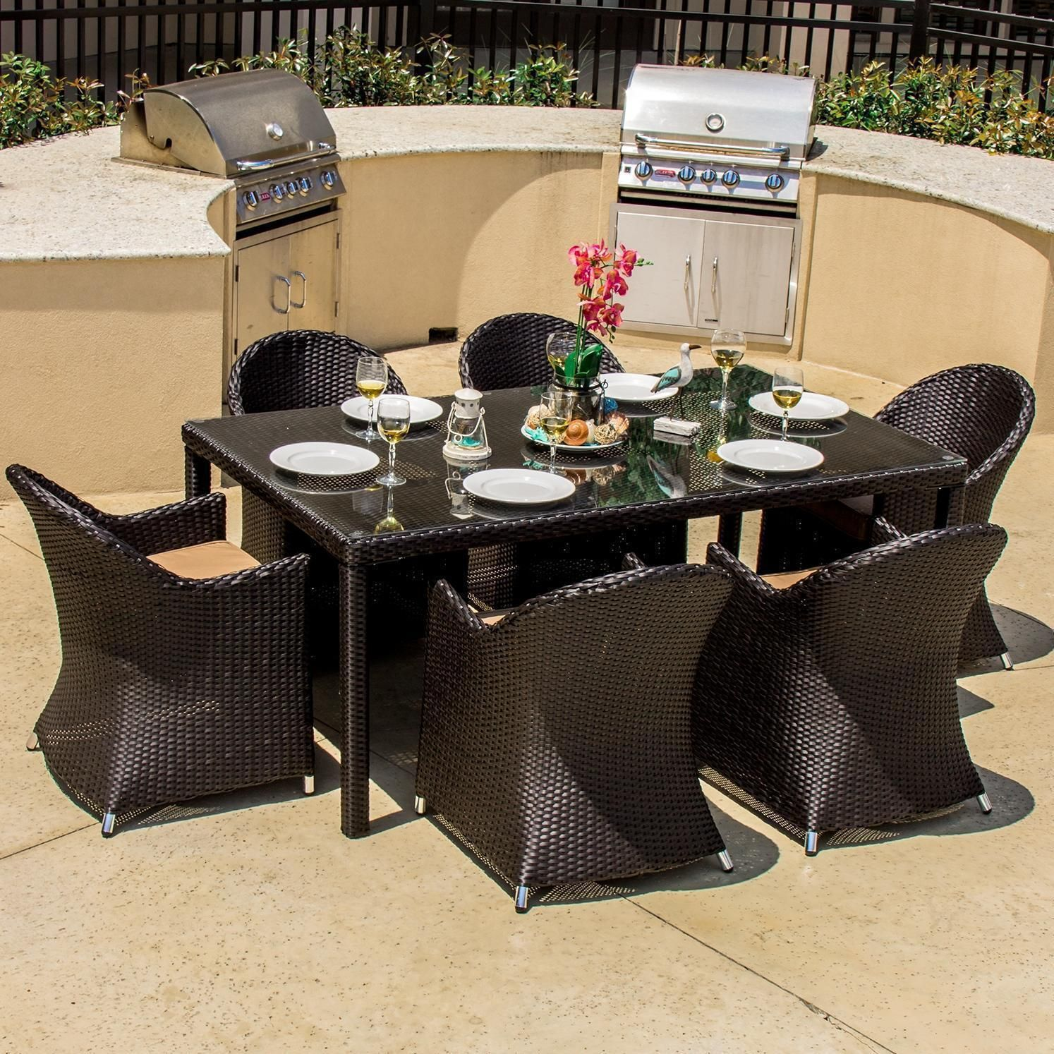 Lakeview Dining Room Gorgeous Providence 7 Piece Resin Wicker Patio Dining Setlakeview Inspiration Design