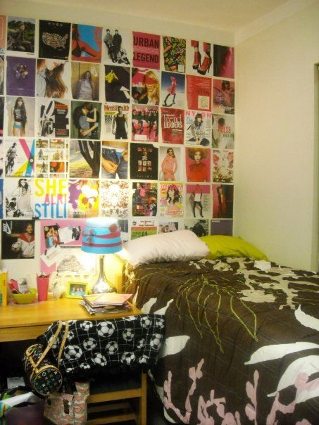 decorate boring white dorm room walls with magazine pages in a grid career school tips dorm. Black Bedroom Furniture Sets. Home Design Ideas