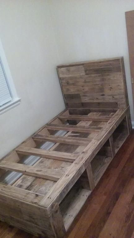 Full size pallet wood bed frame with 3 storage areas from for Pallet bed frame with side tables