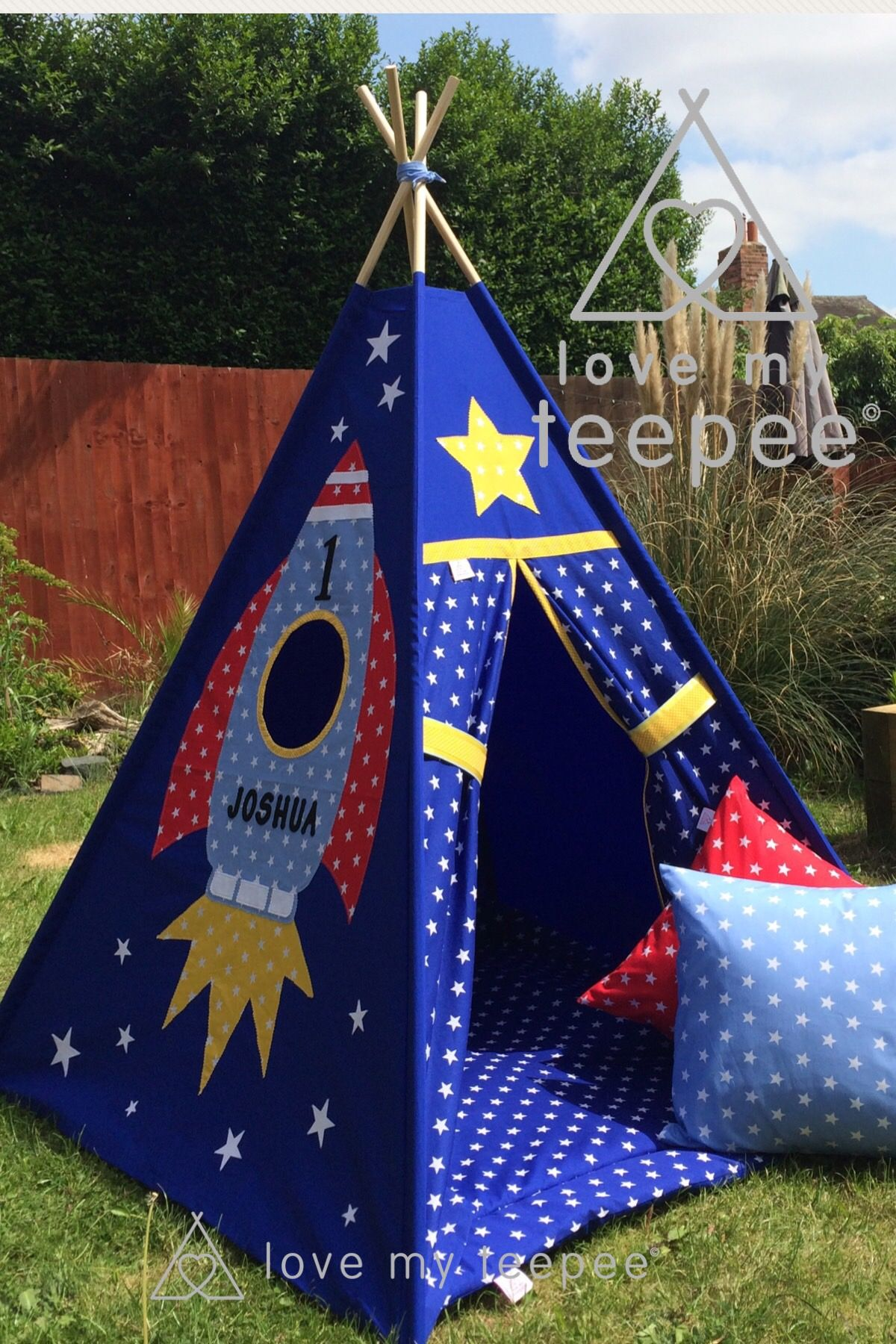 Childrens Personalised Blue Space Rocket Star Teepee Set Mat Cushions