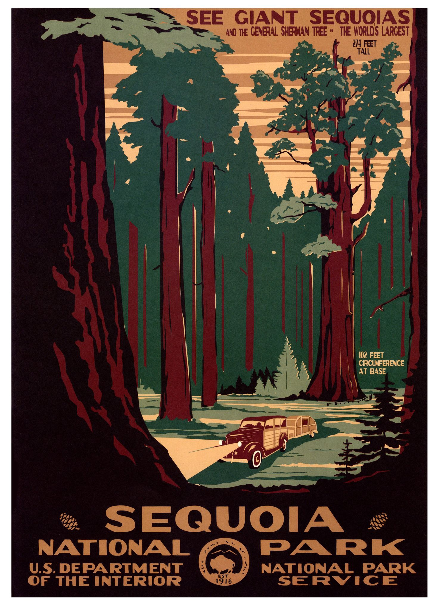 Sequoia National Park WPA-Style Vintage-Style Travel Poster 12x18 California
