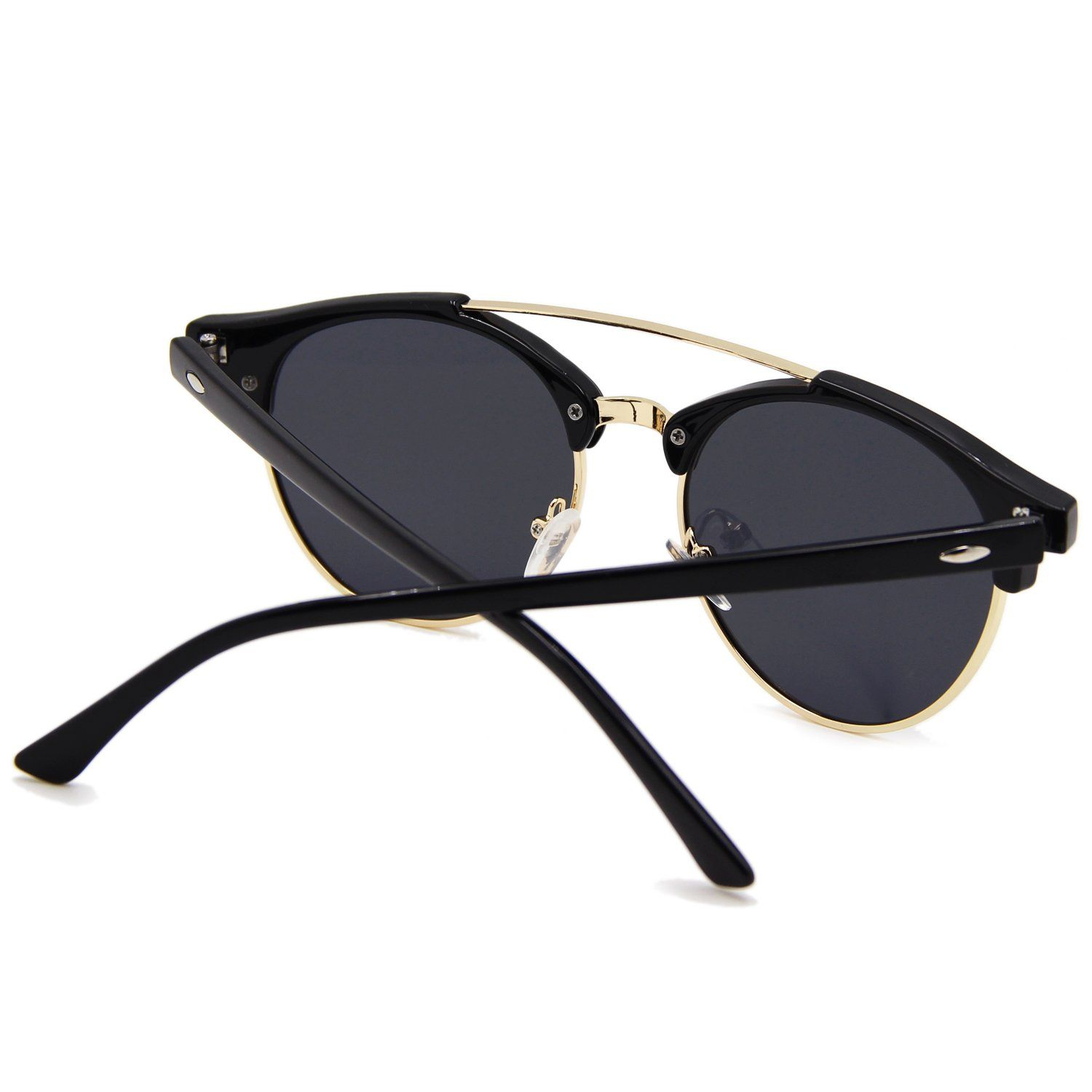 109dee9edb AMZTM Double Bridge SemiRimless Retro Polarized Reflective Round Wayfarer  Sunglasses Black Frame BlackGrey Lens 51     See this great product.