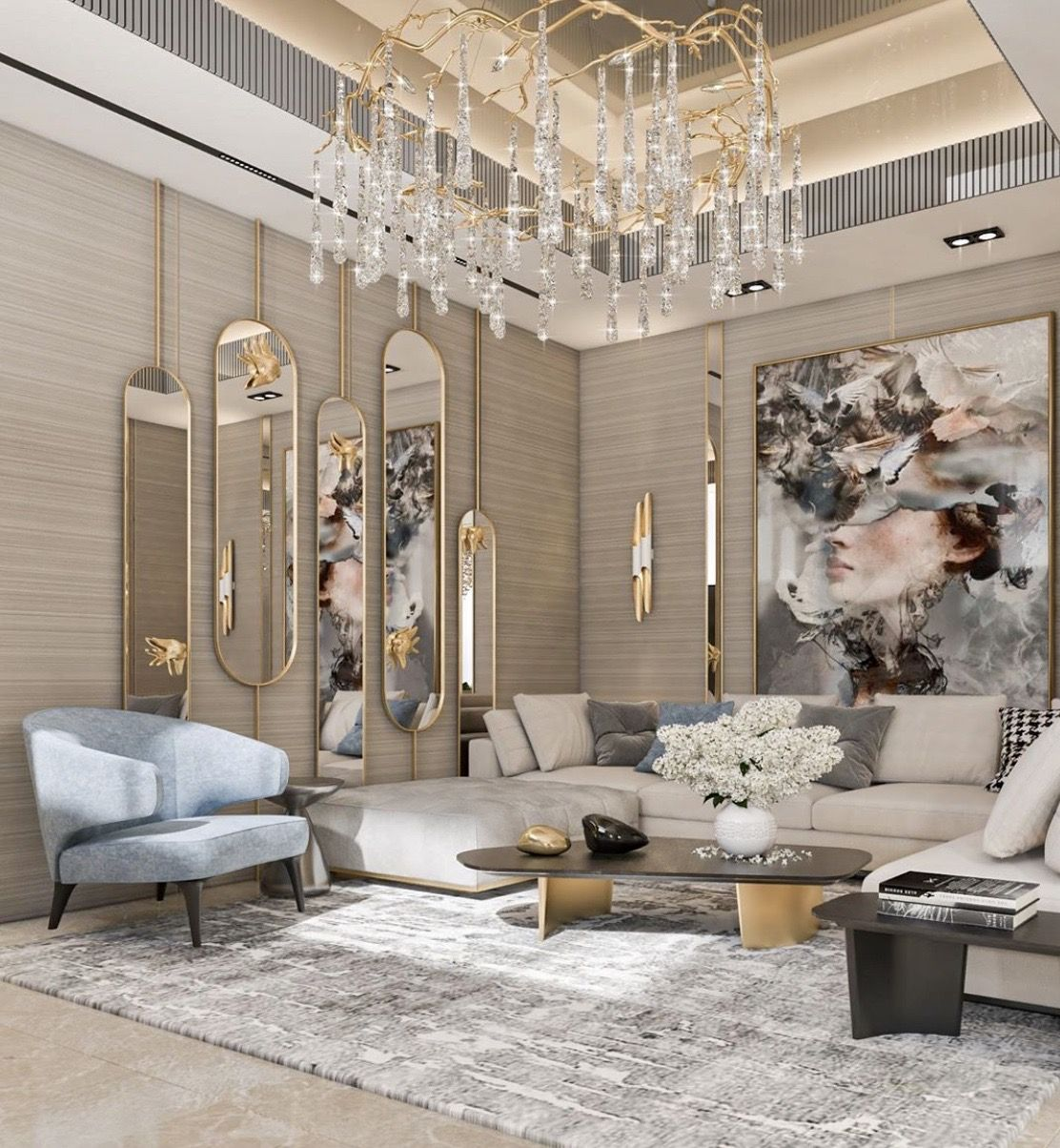 Luxury white beige and gold modern style glam living room decor with modern art and white sectional