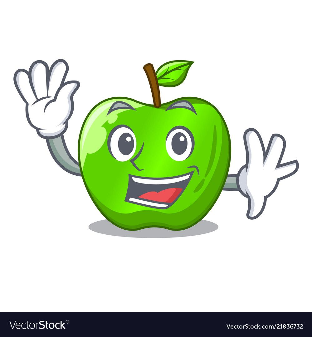 Waving character ripe green apple with leaf vector