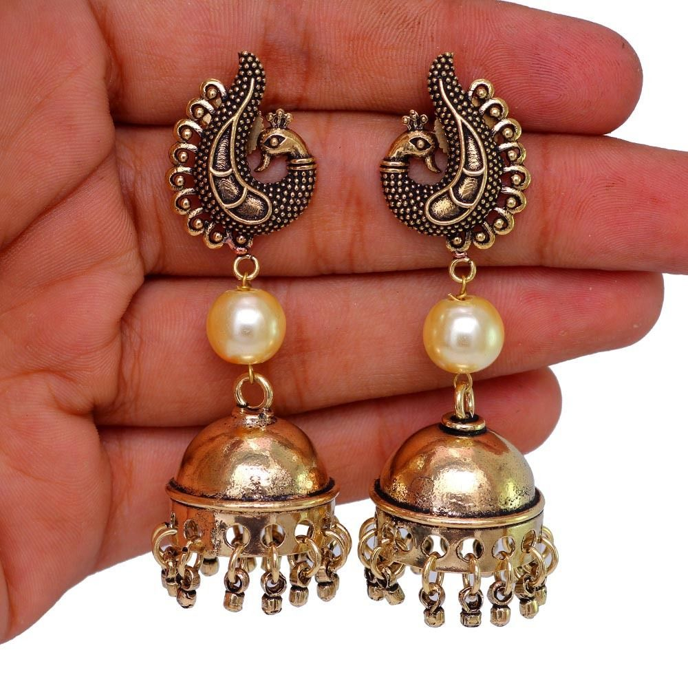 Peacock Theme Oxidised Gold Plated Bollywood Jhumka Jhumki Earring GSE273GLD   #Unbranded