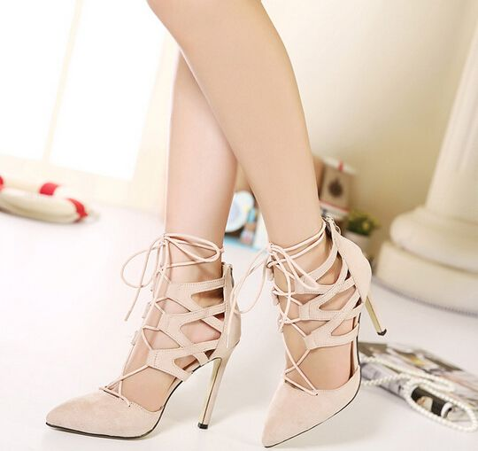 1e12faf843d3d9 Sexy Womens Gladiator Lace Up Point Toe Hollow Out High Heels Court Shoes  Pumps