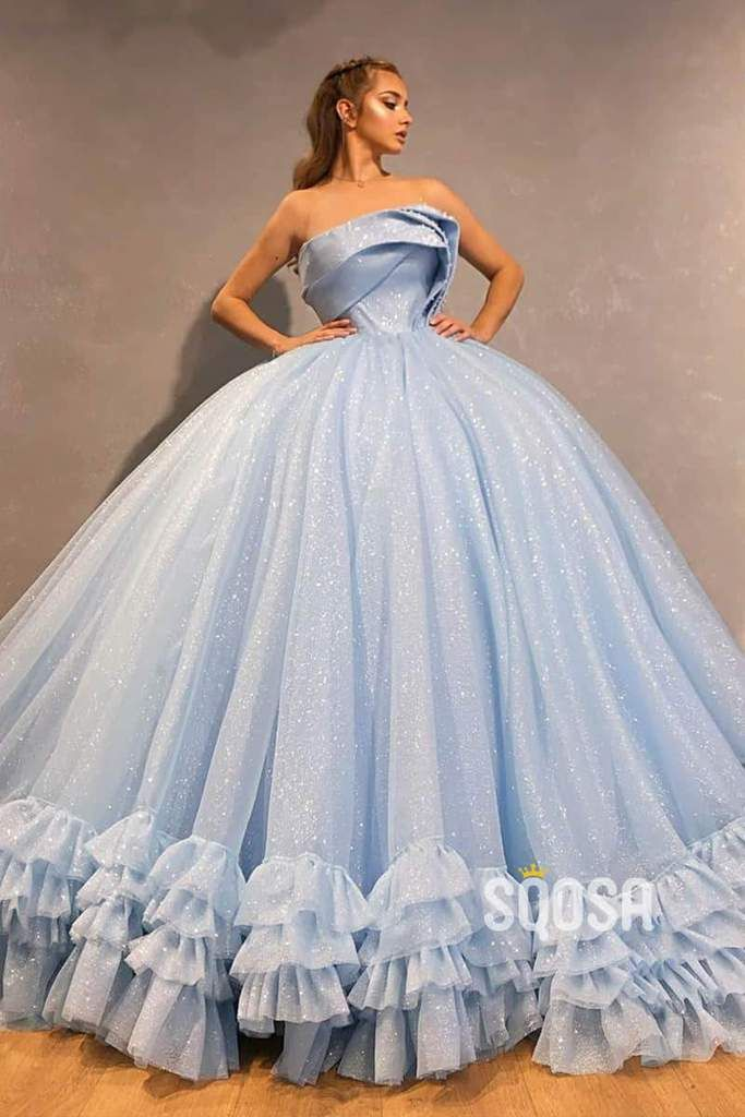 Ball Gown Sky Blue Tulle Beaded Strapless Long Sparkle Prom Dress,Formal Evening Gowns QP1127