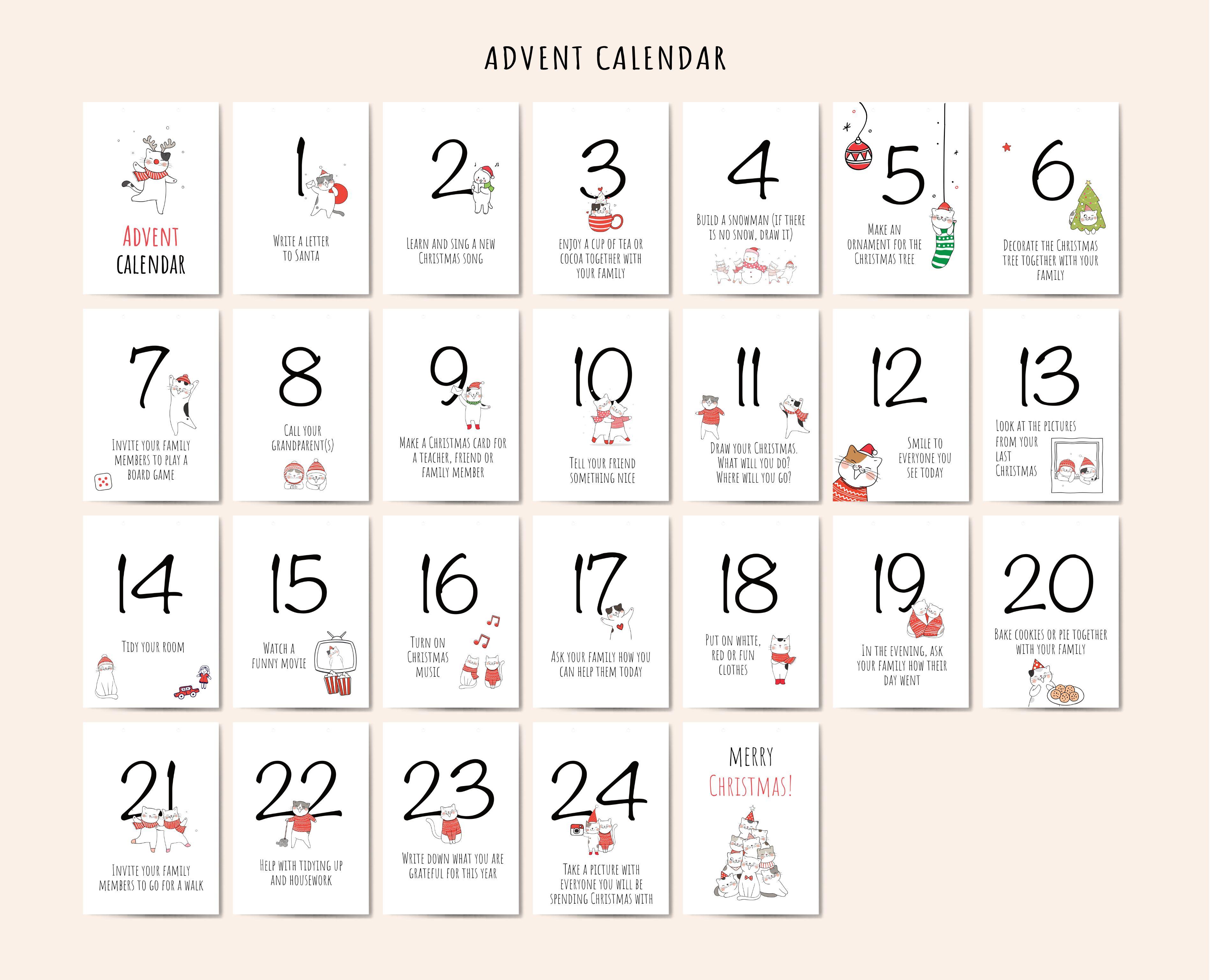 Printable Advent Calendar For Kids Printable Advent Calendar Advent Calendars For Kids Calendar