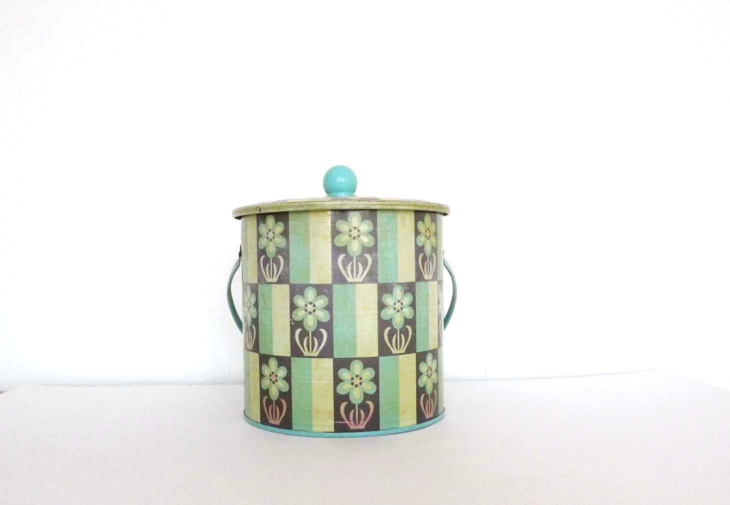Vintage Biscuit Tin Turqouise and blue flower pattern