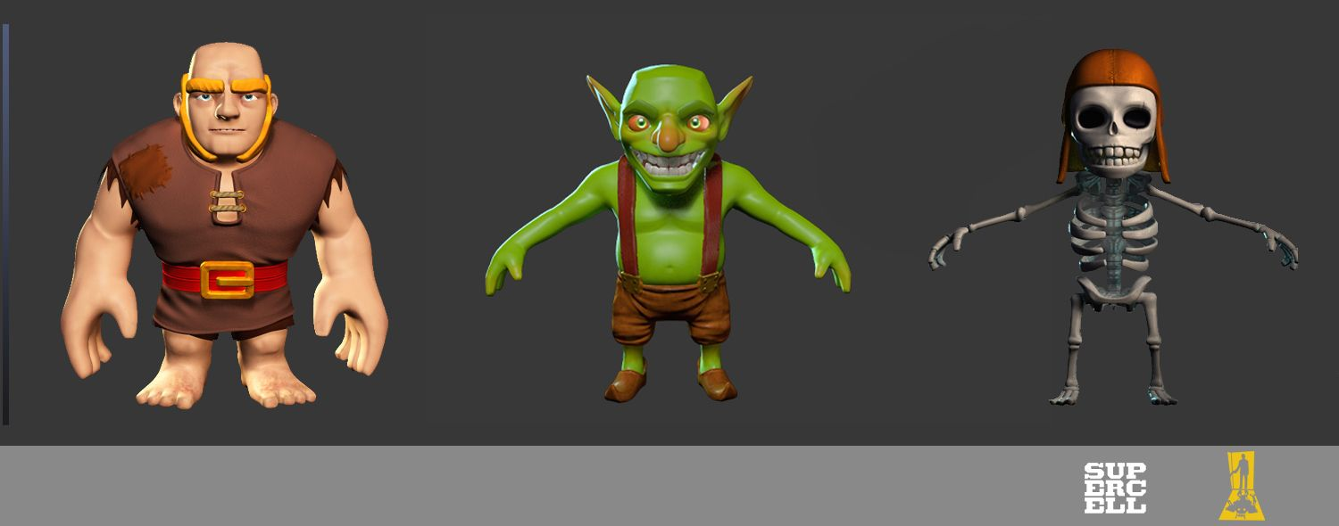 3d Models C Supercell Clashofclans Coc Clash Character Design Character Modeling Low Poly Character