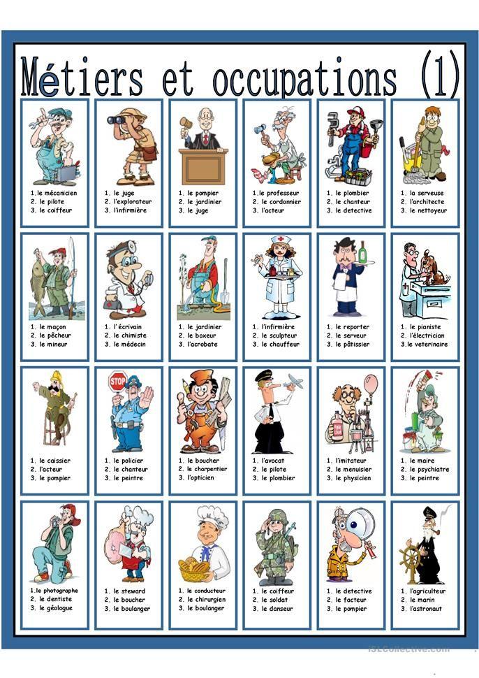 Metiers Et Occupations 1 Fle Enfants Francais Et Fiches